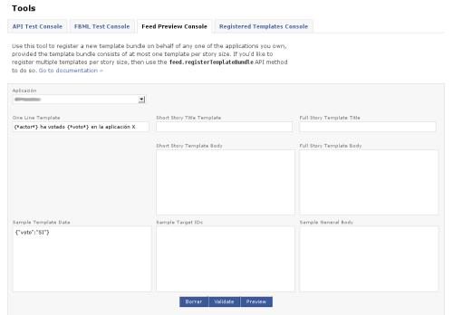 Pestaña Feed Preview Console en Facebook